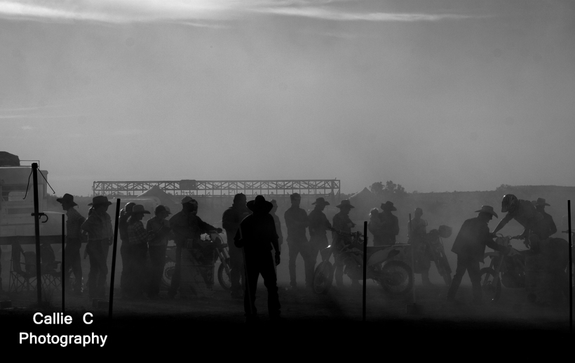 Sspectators covered in dust.